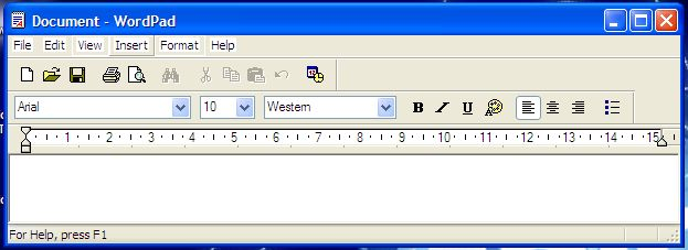 wordpad windows xp